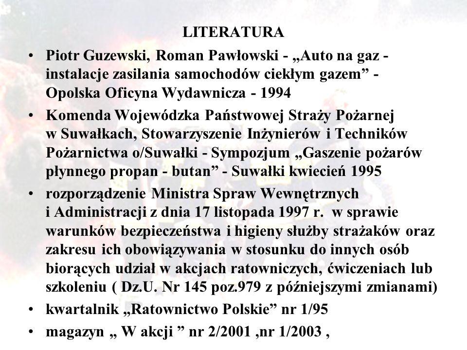 """LITERATURA Piotr Guzewski, Roman Pawłowski - """"Auto na gaz - instalacje zasilania samochodów ciekłym gazem"""" - Opolska Oficyna Wydawnicza - 1994 Komenda"""