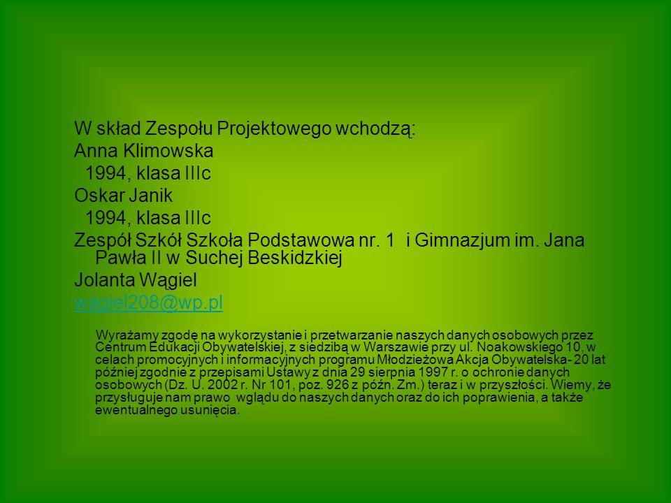 W skład Zespołu Projektowego wchodzą: Anna Klimowska 1994, klasa IIIc Oskar Janik 1994, klasa IIIc Zespół Szkół Szkoła Podstawowa nr.