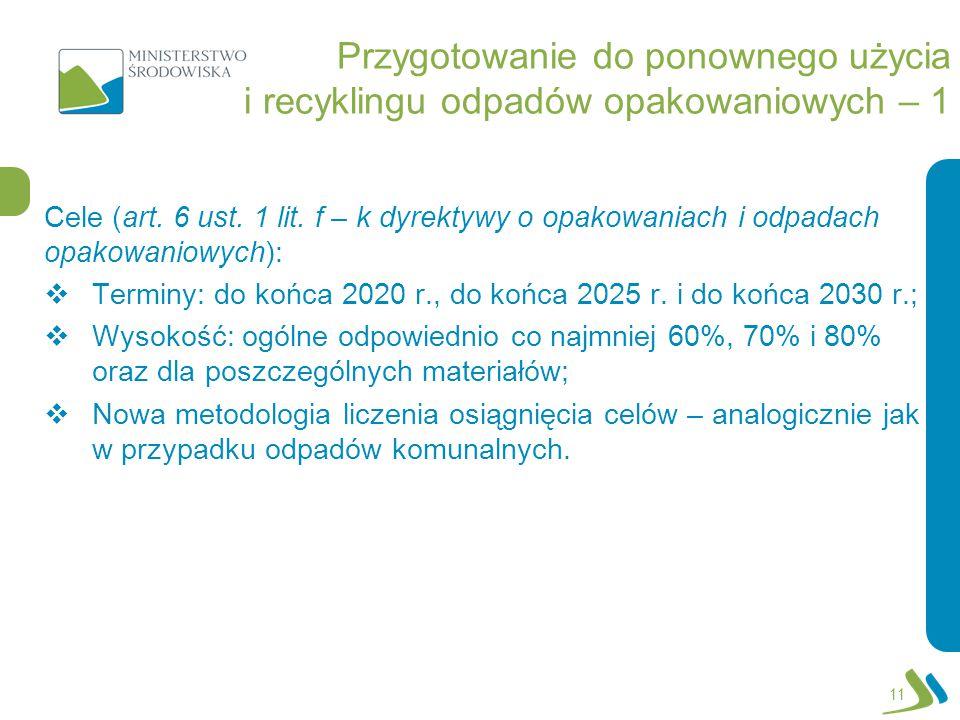 Przygotowanie do ponownego użycia i recyklingu odpadów opakowaniowych – 1 Cele (art. 6 ust. 1 lit. f – k dyrektywy o opakowaniach i odpadach opakowani