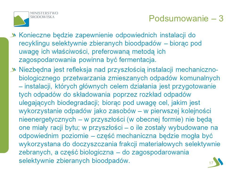 Podsumowanie – 3 Konieczne będzie zapewnienie odpowiednich instalacji do recyklingu selektywnie zbieranych bioodpadów – biorąc pod uwagę ich właściwoś