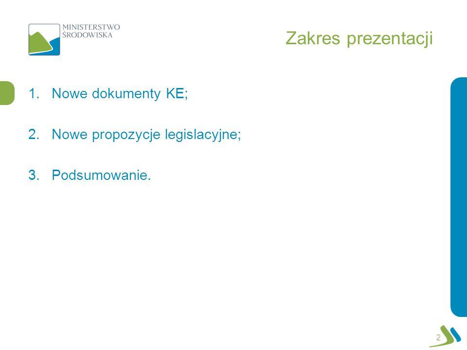 Zakres prezentacji 1.Nowe dokumenty KE; 2.Nowe propozycje legislacyjne; 3.Podsumowanie. 2