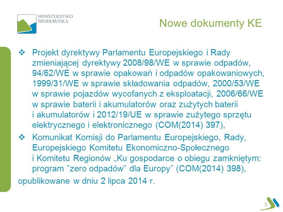 Nowe dokumenty KE  Projekt dyrektywy Parlamentu Europejskiego i Rady zmieniającej dyrektywy 2008/98/WE w sprawie odpadów, 94/62/WE w sprawie opakowań
