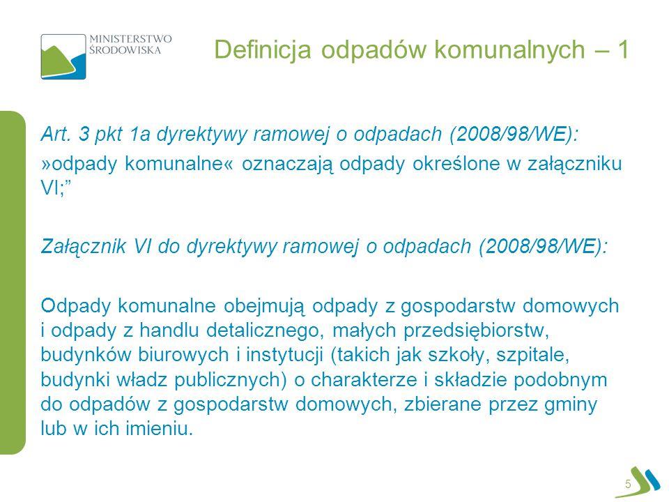 Definicja odpadów komunalnych – 1 Art. 3 pkt 1a dyrektywy ramowej o odpadach (2008/98/WE): »odpady komunalne« oznaczają odpady określone w załączniku
