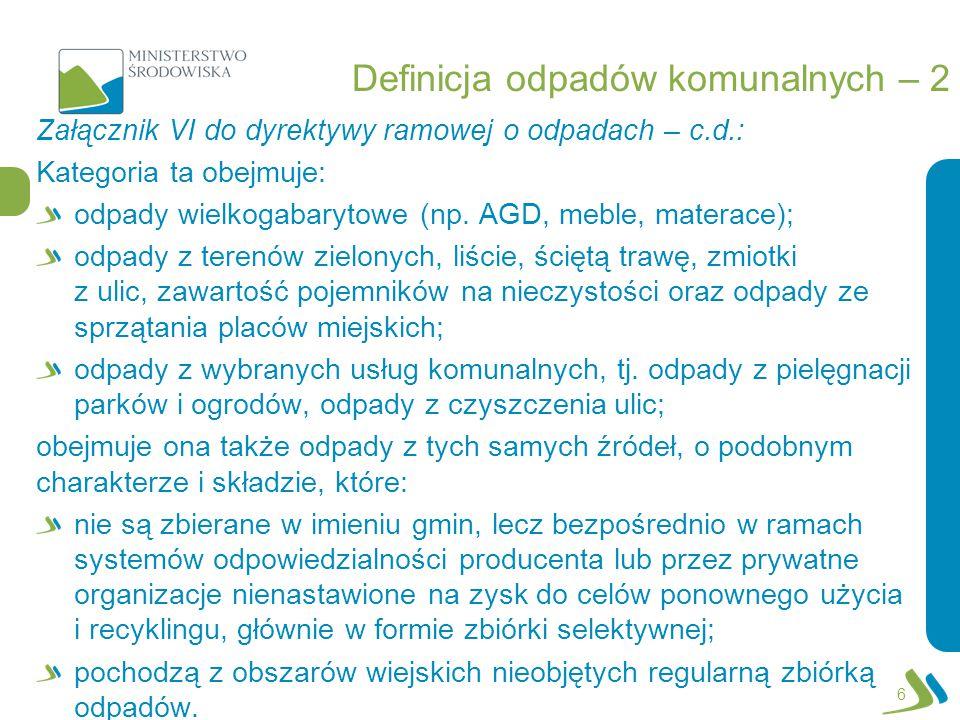 Definicja odpadów komunalnych – 2 Załącznik VI do dyrektywy ramowej o odpadach – c.d.: Kategoria ta obejmuje: odpady wielkogabarytowe (np. AGD, meble,