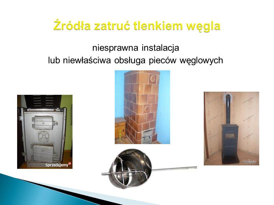niesprawna instalacja lub niewłaściwa obsługa pieców węglowych
