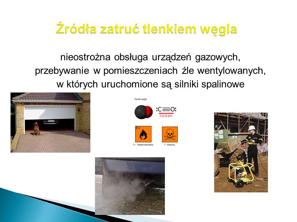 nieostrożna obsługa urządzeń gazowych, przebywanie w pomieszczeniach źle wentylowanych, w których uruchomione są silniki spalinowe