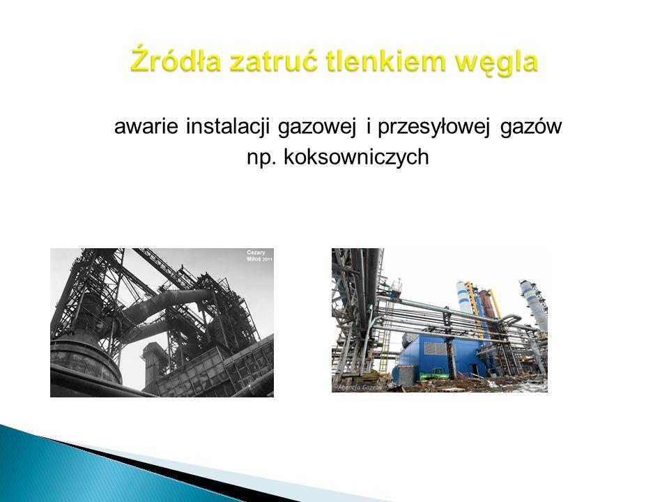 awarie instalacji gazowej i przesyłowej gazów np. koksowniczych