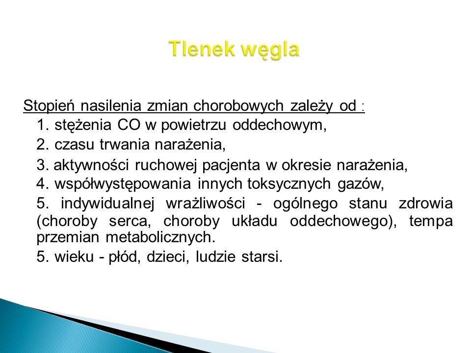 Stopień nasilenia zmian chorobowych zależy od : 1. stężenia CO w powietrzu oddechowym, 2. czasu trwania narażenia, 3. aktywności ruchowej pacjenta w o