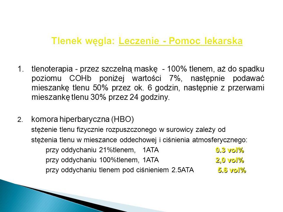 1.tlenoterapia - przez szczelną maskę - 100% tlenem, aż do spadku poziomu COHb poniżej wartości 7%, następnie podawać mieszankę tlenu 50% przez ok. 6