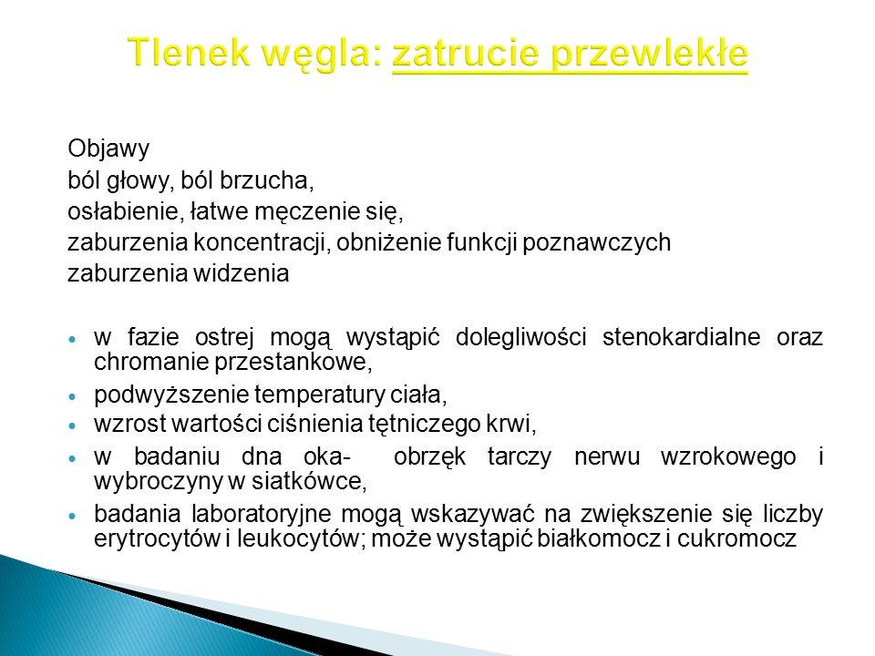 Objawy ból głowy, ból brzucha, osłabienie, łatwe męczenie się, zaburzenia koncentracji, obniżenie funkcji poznawczych zaburzenia widzenia w fazie ostr