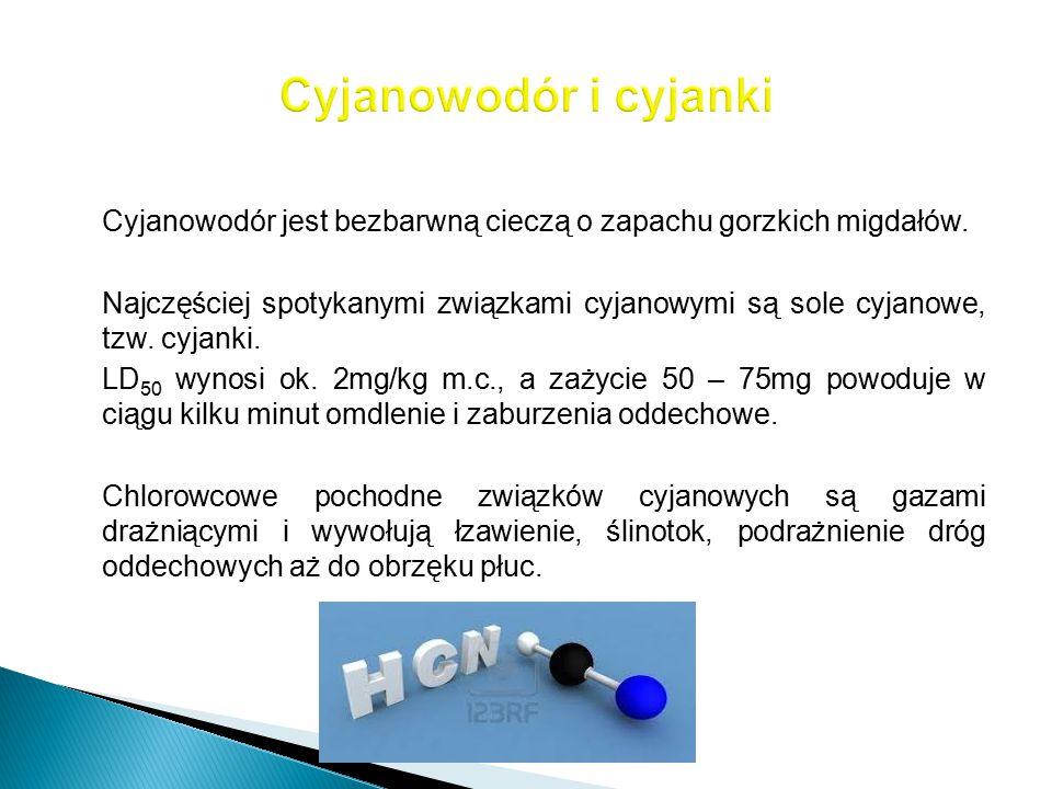 Cyjanowodór jest bezbarwną cieczą o zapachu gorzkich migdałów. Najczęściej spotykanymi związkami cyjanowymi są sole cyjanowe, tzw. cyjanki. LD 50 wyno