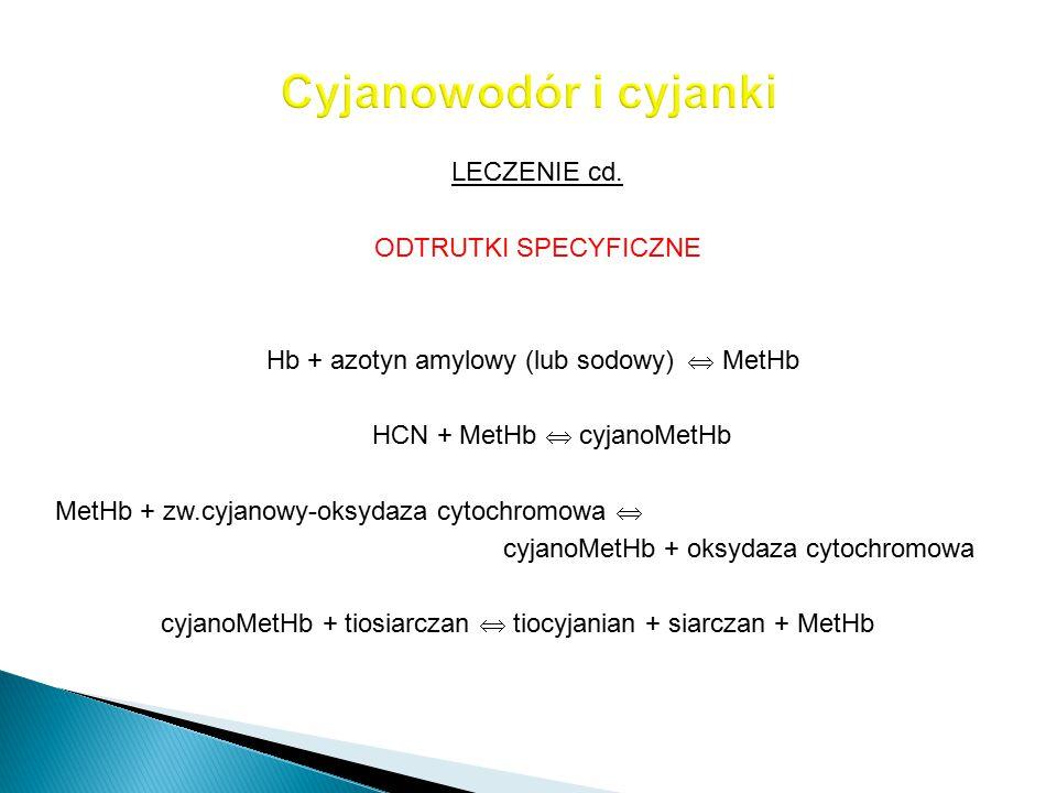 LECZENIE cd. ODTRUTKI SPECYFICZNE Hb + azotyn amylowy (lub sodowy)  MetHb HCN + MetHb  cyjanoMetHb MetHb + zw.cyjanowy-oksydaza cytochromowa  cyjan