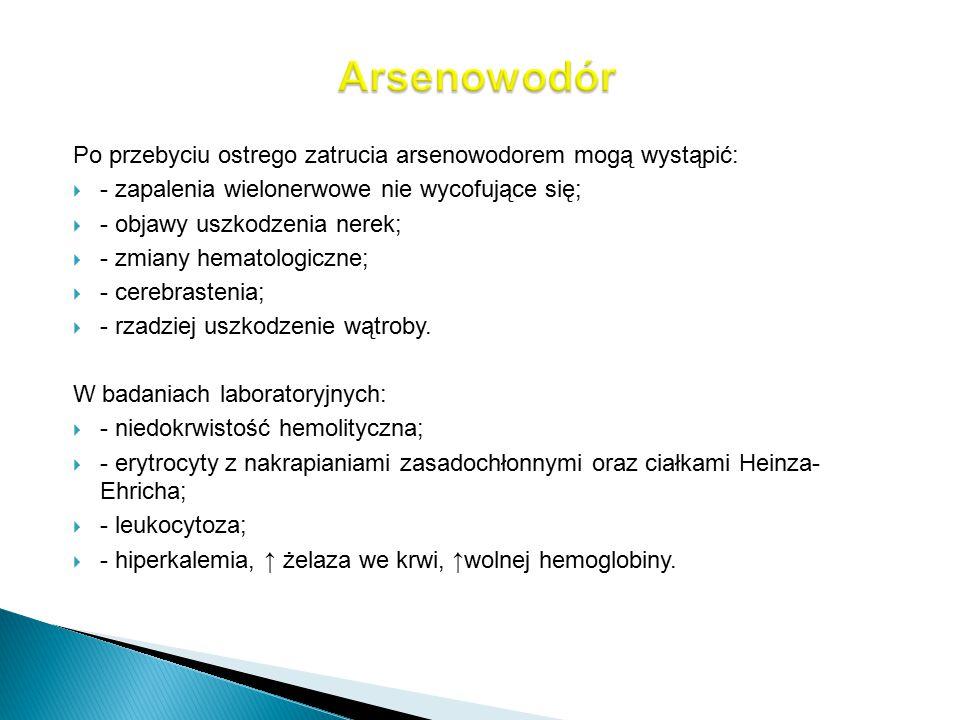 Po przebyciu ostrego zatrucia arsenowodorem mogą wystąpić:  - zapalenia wielonerwowe nie wycofujące się;  - objawy uszkodzenia nerek;  - zmiany hem