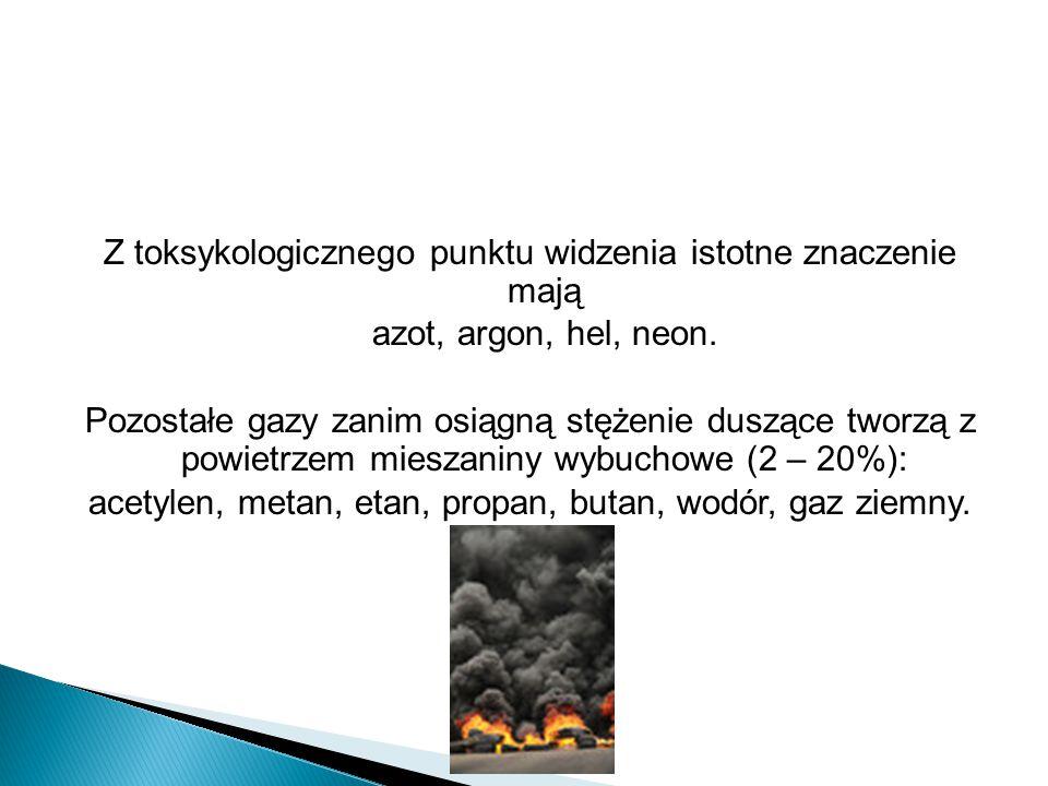 Z toksykologicznego punktu widzenia istotne znaczenie mają azot, argon, hel, neon. Pozostałe gazy zanim osiągną stężenie duszące tworzą z powietrzem m