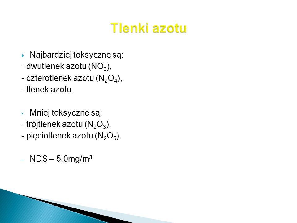  Najbardziej toksyczne są: - dwutlenek azotu (NO 2 ), - czterotlenek azotu (N 2 O 4 ), - tlenek azotu. Mniej toksyczne są: - trójtlenek azotu (N 2 O