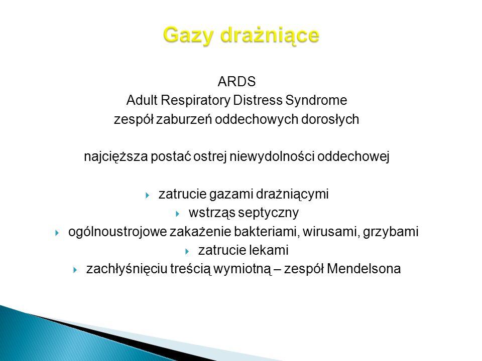 ARDS Adult Respiratory Distress Syndrome zespół zaburzeń oddechowych dorosłych najcięższa postać ostrej niewydolności oddechowej  zatrucie gazami dra