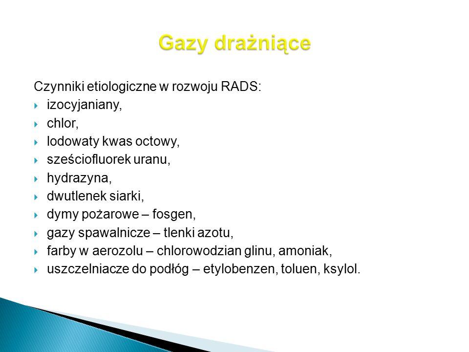 Czynniki etiologiczne w rozwoju RADS:  izocyjaniany,  chlor,  lodowaty kwas octowy,  sześciofluorek uranu,  hydrazyna,  dwutlenek siarki,  dymy
