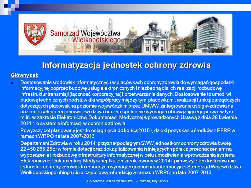 """Informatyzacja jednostek ochrony zdrowia """"Bo zdrowie jest najważniejsze"""" – Poznań, luty 2015 r. Główny cel: Dostosowanie środowisk informatycznych w p"""