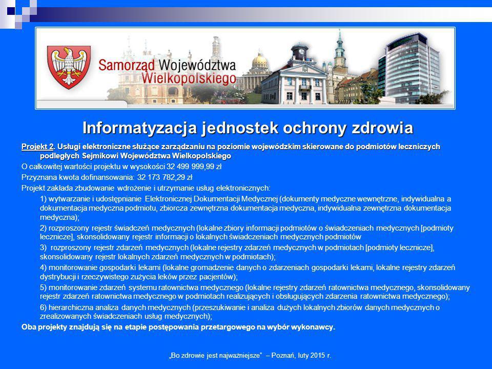 """Informatyzacja jednostek ochrony zdrowia """"Bo zdrowie jest najważniejsze"""" – Poznań, luty 2015 r. Projekt 2. Usługi elektroniczne służące zarządzaniu na"""