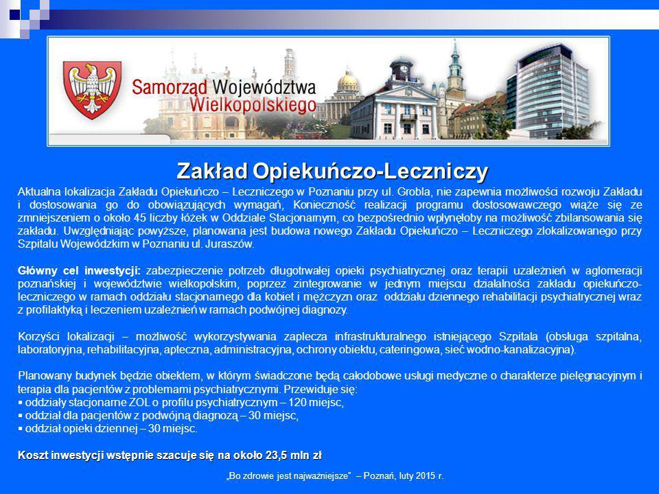 Zakład Opiekuńczo-Leczniczy Aktualna lokalizacja Zakładu Opiekuńczo – Leczniczego w Poznaniu przy ul. Grobla, nie zapewnia możliwości rozwoju Zakładu