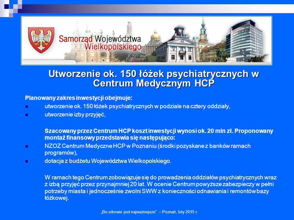 """Utworzenie ok. 150 łóżek psychiatrycznych w Centrum Medycznym HCP """"Bo zdrowie jest najważniejsze"""" – Poznań, luty 2015 r. Planowany zakres inwestycji o"""
