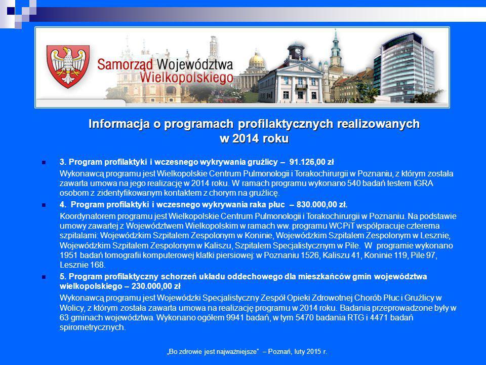 """Informacja o programach profilaktycznych realizowanych w 2014 roku """"Bo zdrowie jest najważniejsze"""" – Poznań, luty 2015 r. 3. Program profilaktyki i wc"""