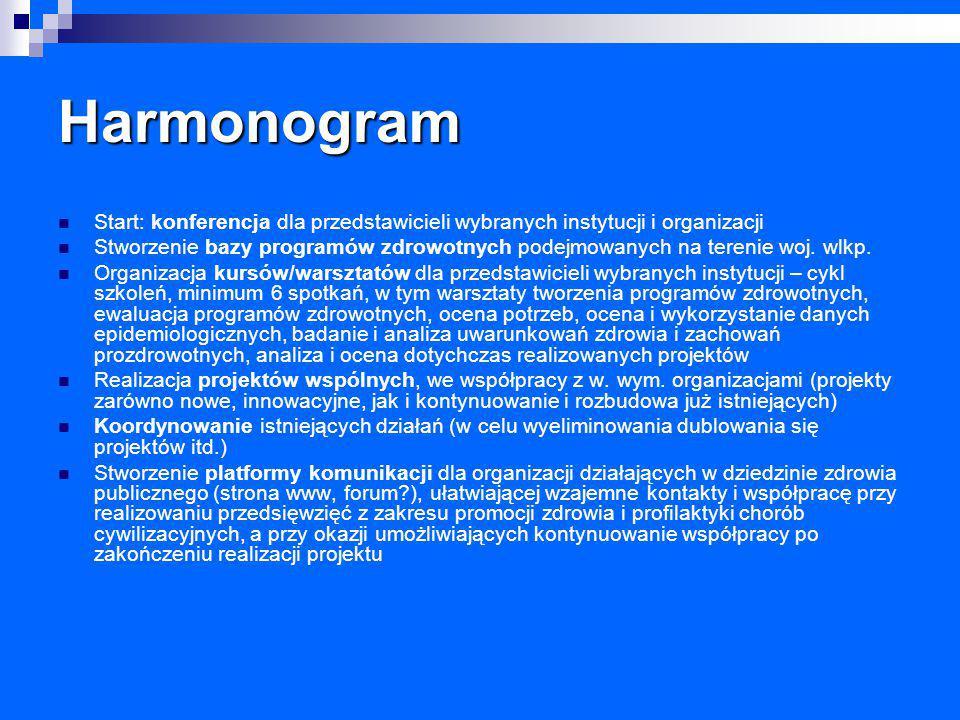 Harmonogram Start: konferencja dla przedstawicieli wybranych instytucji i organizacji Stworzenie bazy programów zdrowotnych podejmowanych na terenie w
