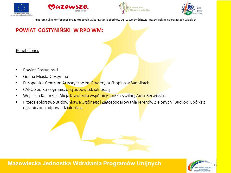 POWIAT GOSTYNIŃSKI W RPO WM: Beneficjenci: Powiat Gostyniński Gmina Miasta Gostynina Europejskie Centrum Artystyczne im.