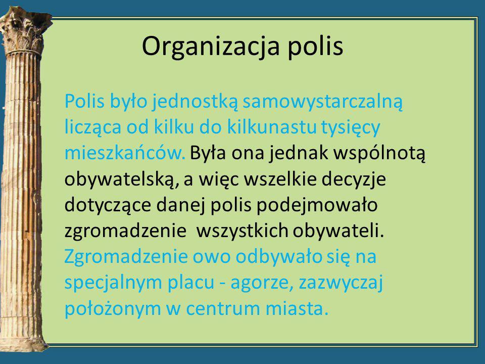 Organizacja polis Polis było jednostką samowystarczalną licząca od kilku do kilkunastu tysięcy mieszkańców. Była ona jednak wspólnotą obywatelską, a w