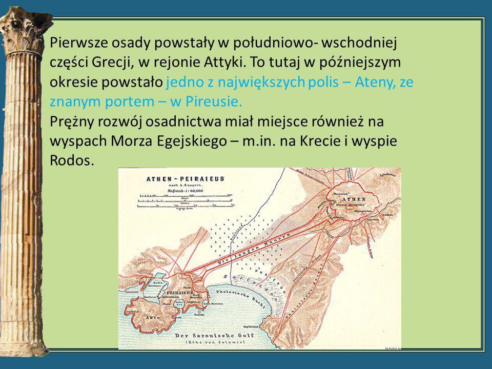Gospodarka Starożytnej Grecji -na terenach żyznych uprawiano jęczmień i pszenicę; -na stokach gór zakładano winnice i gaje oliwne; -w rejonach górzystych hodowano kozy i owce; -rozpowszechniona hodowla pszczół; -wymiana handlowa oparta na żegludze kabotażowej (żegluga przybrzeżna łącząca porty jednego morza)