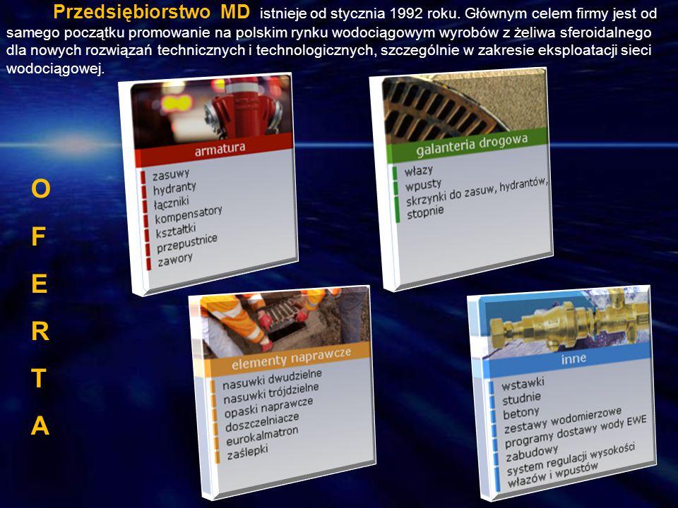 OFERTAOFERTA Przedsiębiorstwo MD istnieje od stycznia 1992 roku. Głównym celem firmy jest od samego początku promowanie na polskim rynku wodociągowym