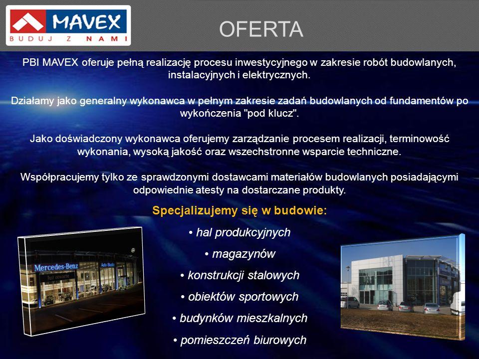 PBI MAVEX oferuje pełną realizację procesu inwestycyjnego w zakresie robót budowlanych, instalacyjnych i elektrycznych. Działamy jako generalny wykona
