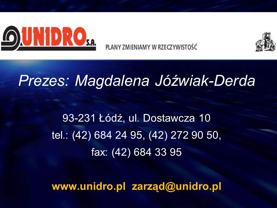 Prezes: Magdalena Jóźwiak-Derda 93-231 Łódź, ul. Dostawcza 10 tel.: (42) 684 24 95, (42) 272 90 50, fax: (42) 684 33 95 www.unidro.pl zarząd@unidro.pl