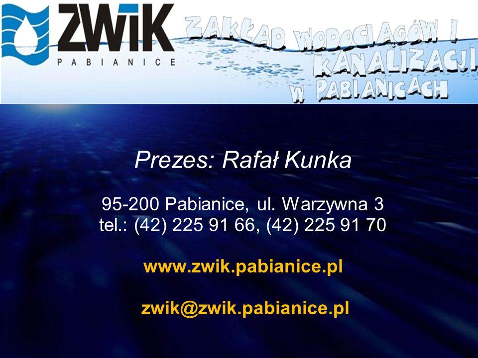 Prezes: Rafał Kunka 95-200 Pabianice, ul. Warzywna 3 tel.: (42) 225 91 66, (42) 225 91 70 www.zwik.pabianice.pl zwik@zwik.pabianice.pl