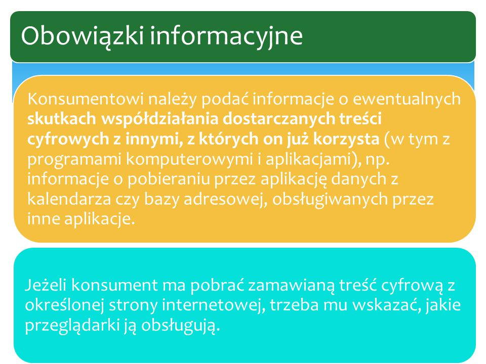 Konsumentowi należy podać informacje o ewentualnych skutkach współdziałania dostarczanych treści cyfrowych z innymi, z których on już korzysta (w tym z programami komputerowymi i aplikacjami), np.