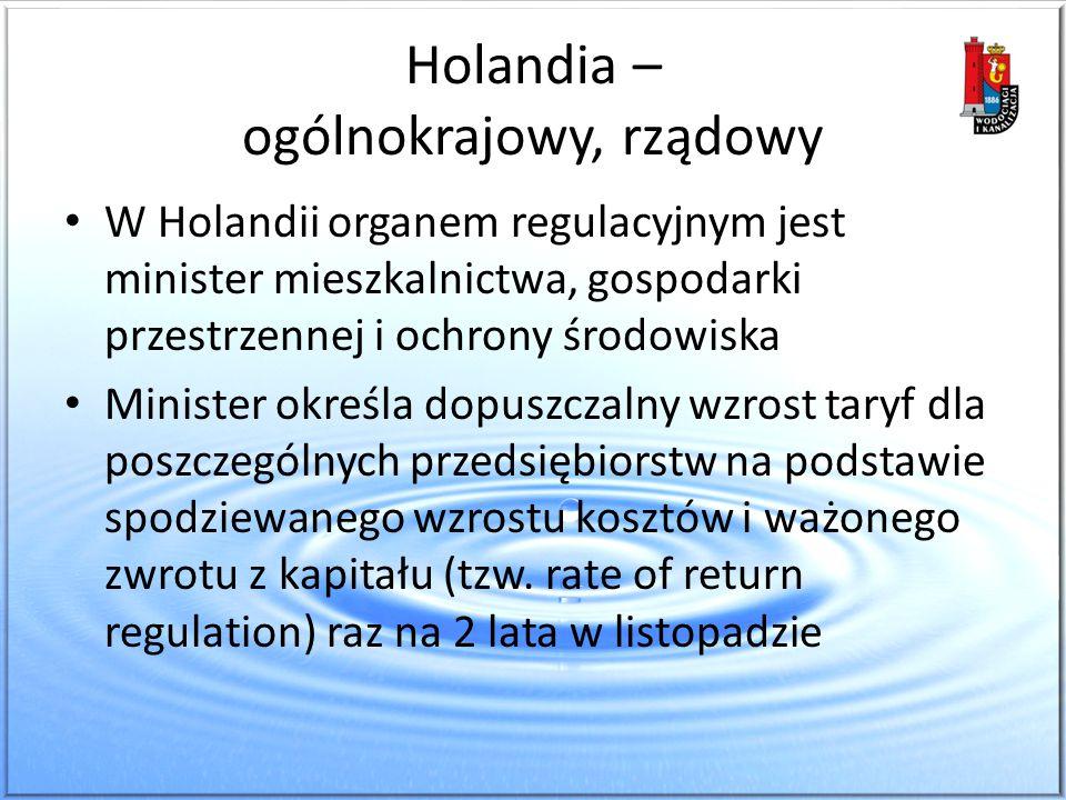 Holandia – ogólnokrajowy, rządowy W Holandii organem regulacyjnym jest minister mieszkalnictwa, gospodarki przestrzennej i ochrony środowiska Minister
