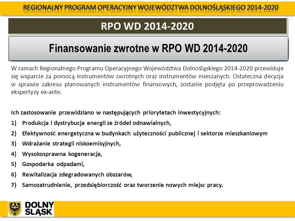 RPO WD 2014-2020 W ramach Regionalnego Programu Operacyjnego Województwa Dolnośląskiego 2014-2020 przewiduje się wsparcie za pomocą instrumentów zwrot