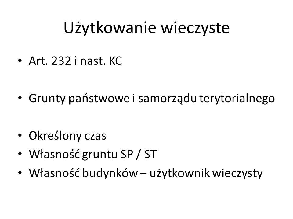 Użytkowanie wieczyste Art.232 i nast.