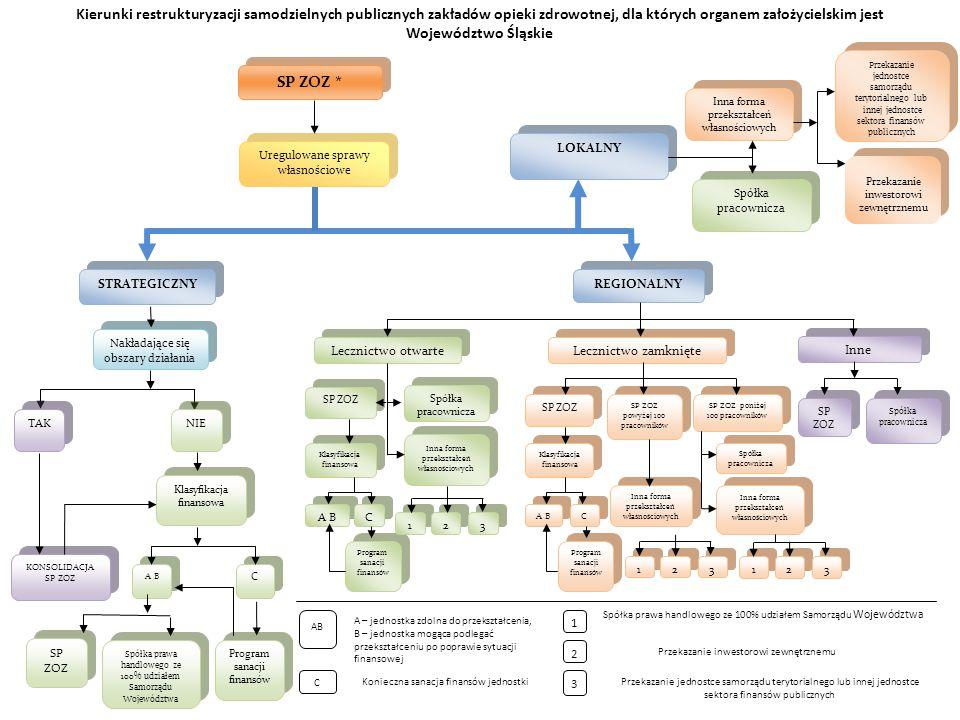 Kierunki restrukturyzacji samodzielnych publicznych zakładów opieki zdrowotnej, dla których organem założycielskim jest Województwo Śląskie SP ZOZ * Uregulowane sprawy własnościowe Przekazanie jednostce samorządu terytorialnego lub innej jednostce sektora finansów publicznych Przekazanie jednostce samorządu terytorialnego lub innej jednostce sektora finansów publicznych Przekazanie inwestorowi zewnętrznemu Spółka pracownicza Inna forma przekształceń własnościowych Inna forma przekształceń własnościowych LOKALNY Spółka prawa handlowego ze 100% udziałem Samorządu Województwa Lecznictwo otwarte Inne Lecznictwo zamknięte 1 Przekazanie inwestorowi zewnętrznemu Przekazanie jednostce samorządu terytorialnego lub innej jednostce sektora finansów publicznych 2 3 C AB A – jednostka zdolna do przekształcenia, B – jednostka mogąca podlegać przekształceniu po poprawie sytuacji finansowej Konieczna sanacja finansów jednostki A B REGIONALNY SP ZOZ Klasyfikacja finansowa Spółka pracownicza Inna forma przekształceń własnościowych SP ZOZ SP ZOZ powyżej 100 pracowników SP ZOZ poniżej 100 pracowników Spółka pracownicza SP ZOZ Spółka pracownicza Inna forma przekształceń własnościowych Klasyfikacja finansowa Inna forma przekształceń własnościowych 1 1 Program sanacji finansów A B C C 2 2 3 3 1 1 2 2 3 3 C C 1 1 2 2 3 3 Spółka prawa handlowego ze 100% udziałem Samorządu Województwa STRATEGICZNY Nakładające się obszary działania Klasyfikacja finansowa KONSOLIDACJA SP ZOZ TAK NIE A B C C SP ZOZ Program sanacji finansów