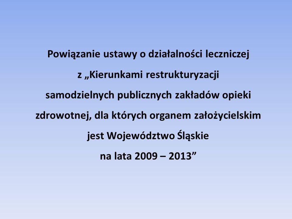 """Powiązanie ustawy o działalności leczniczej z """"Kierunkami restrukturyzacji samodzielnych publicznych zakładów opieki zdrowotnej, dla których organem założycielskim jest Województwo Śląskie na lata 2009 – 2013"""