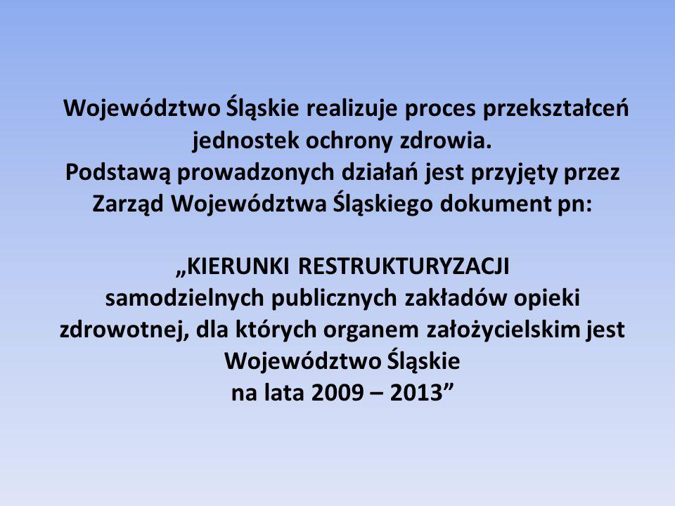 Województwo Śląskie realizuje proces przekształceń jednostek ochrony zdrowia. Podstawą prowadzonych działań jest przyjęty przez Zarząd Województwa Ślą
