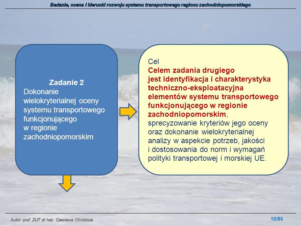 Autor: prof. ZUT dr hab. Czesława Christowa 10/80 Zadanie 2 Dokonanie wielokryterialnej oceny systemu transportowego funkcjonującego w regionie zachod