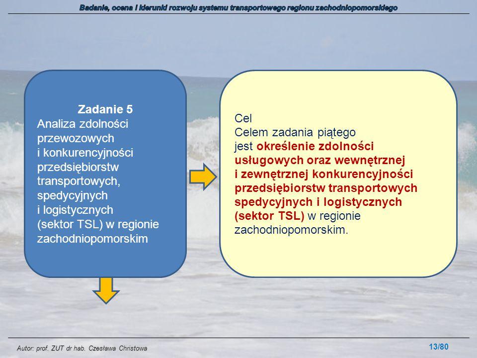 Autor: prof. ZUT dr hab. Czesława Christowa 13/80 Zadanie 5 Analiza zdolności przewozowych i konkurencyjności przedsiębiorstw transportowych, spedycyj