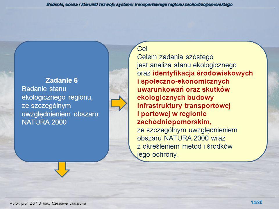 Autor: prof. ZUT dr hab. Czesława Christowa 14/80 Zadanie 6 Badanie stanu ekologicznego regionu, ze szczególnym uwzględnieniem obszaru NATURA 2000 Cel