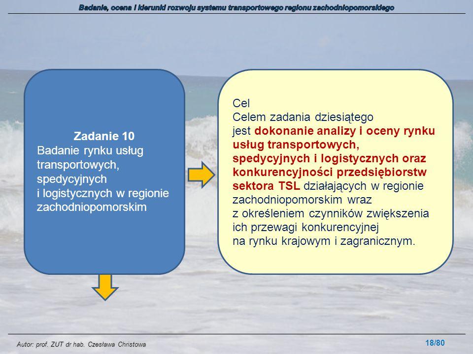 Autor: prof. ZUT dr hab. Czesława Christowa 18/80 Zadanie 10 Badanie rynku usług transportowych, spedycyjnych i logistycznych w regionie zachodniopomo