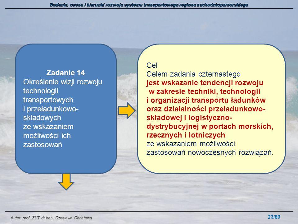Autor: prof. ZUT dr hab. Czesława Christowa 23/80 Zadanie 14 Określenie wizji rozwoju technologii transportowych i przeładunkowo- składowych ze wskaza