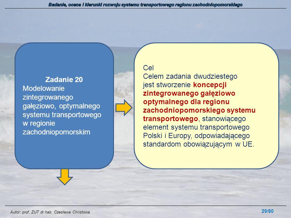 Autor: prof. ZUT dr hab. Czesława Christowa 29/80 Zadanie 20 Modelowanie zintegrowanego gałęziowo, optymalnego systemu transportowego w regionie zacho