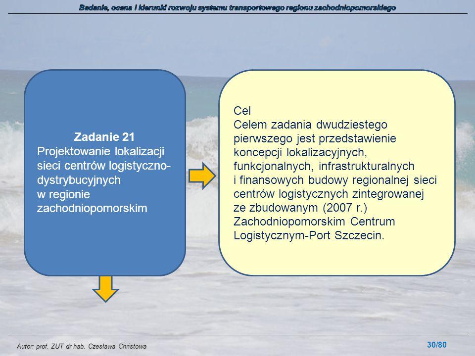 Autor: prof. ZUT dr hab. Czesława Christowa 30/80 Zadanie 21 Projektowanie lokalizacji sieci centrów logistyczno- dystrybucyjnych w regionie zachodnio