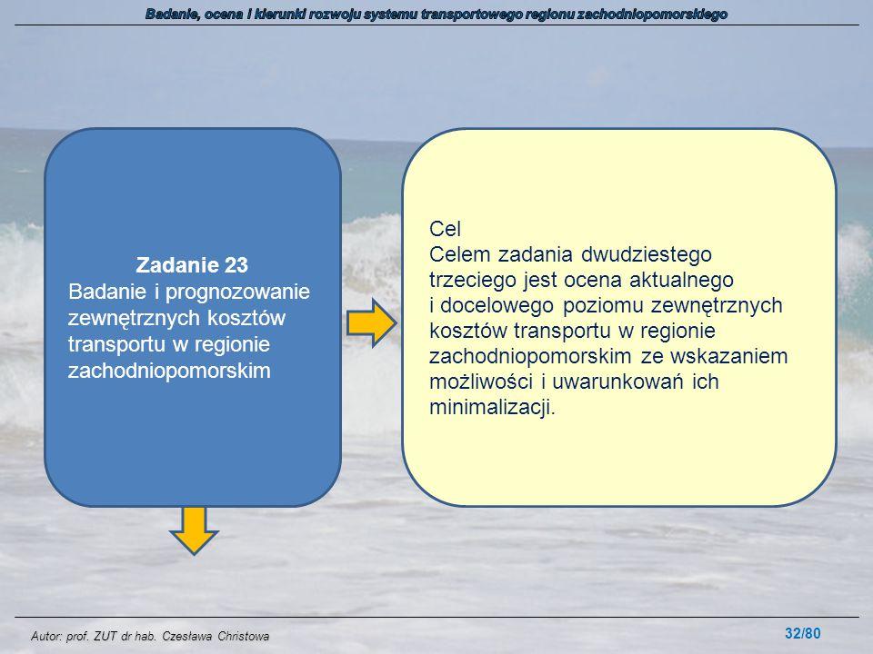 Autor: prof. ZUT dr hab. Czesława Christowa 32/80 Zadanie 23 Badanie i prognozowanie zewnętrznych kosztów transportu w regionie zachodniopomorskim Cel