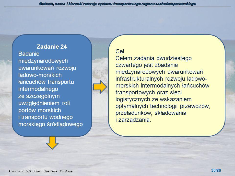 Autor: prof. ZUT dr hab. Czesława Christowa 33/80 Zadanie 24 Badanie międzynarodowych uwarunkowań rozwoju lądowo-morskich łańcuchów transportu intermo